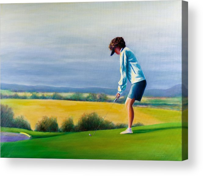 Golfer Acrylic Print featuring the painting Fairy Golf Mother by Shannon Grissom