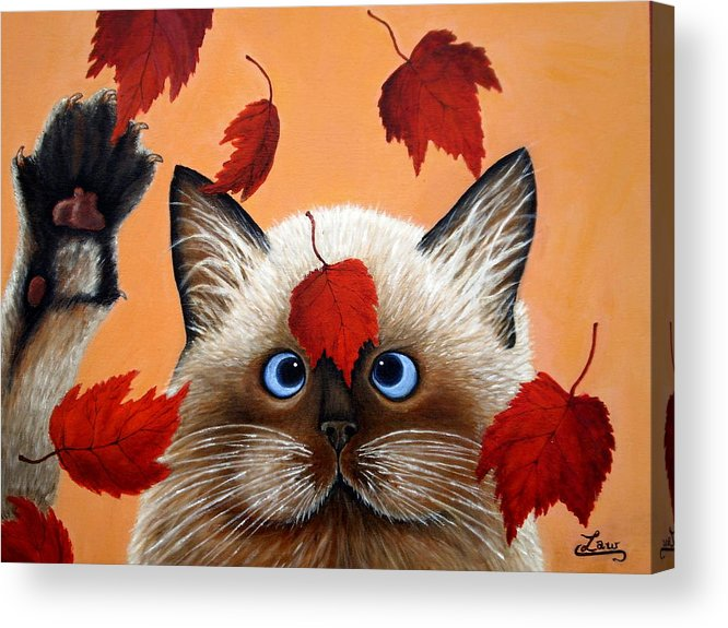 Cat Acrylic Print featuring the painting Fall Cat by Chris Law