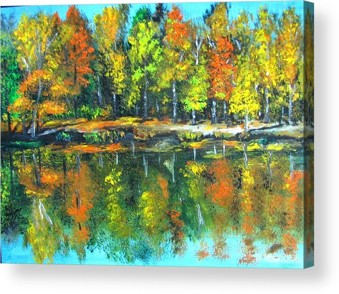 Fall Acrylic Print featuring the painting Fall Landscape Acrylic Painting Framed by Natalja Picugina