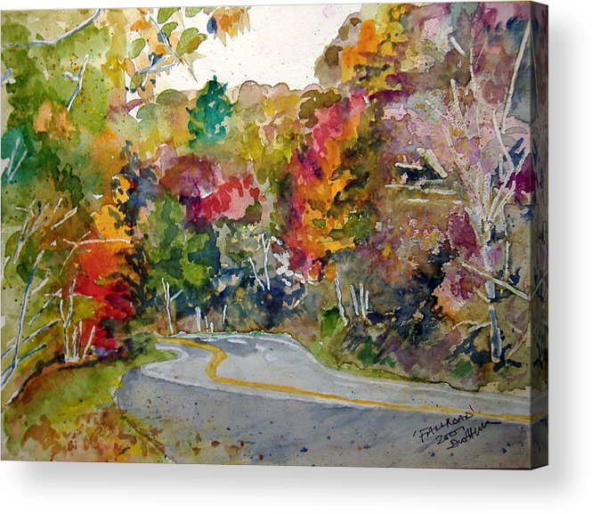 Landscape Acrylic Print featuring the painting Fall Road - Watercolor by Donna Hanna
