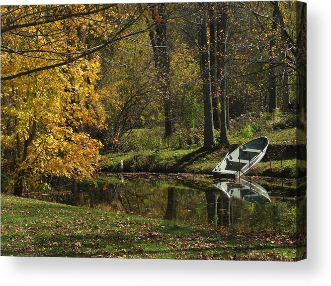 Rowboat Acrylic Print featuring the photograph Fall Rowboat by Michael L Kimble
