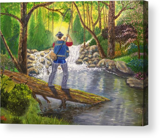Landscape Acrylic Print featuring the painting Favorite Spot by Charles Vaughn