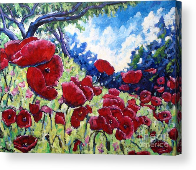 Poppies Acrylic Print featuring the painting Field Of Poppies 02 by Richard T Pranke