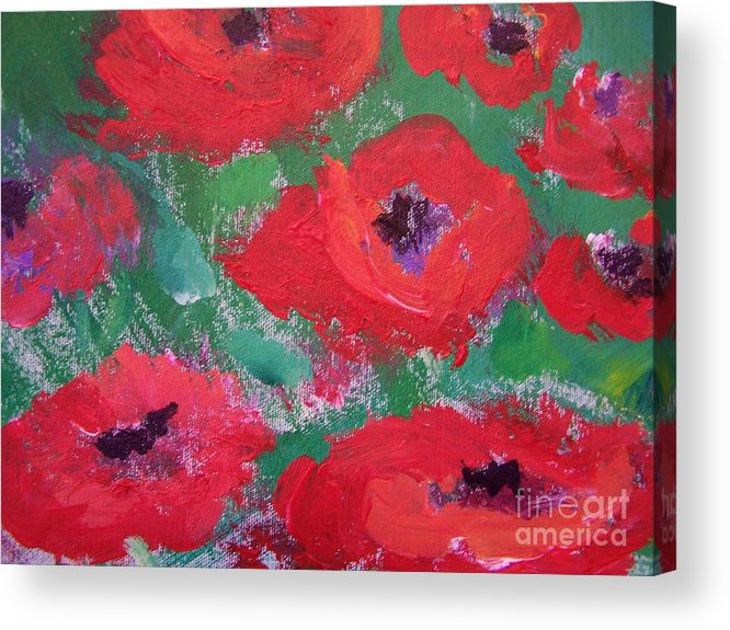 Floral Acrylic Print featuring the painting Field Of Red by Geraldine Liquidano