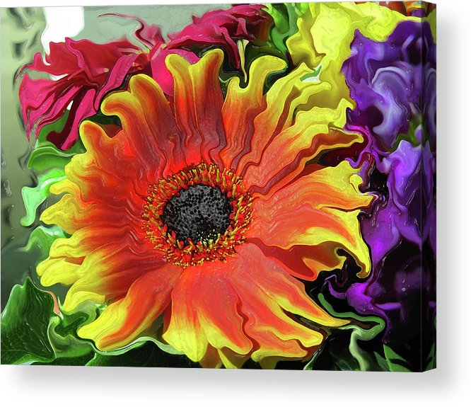Abstract Acrylic Print featuring the photograph Floral Fiesta by Kathy Moll