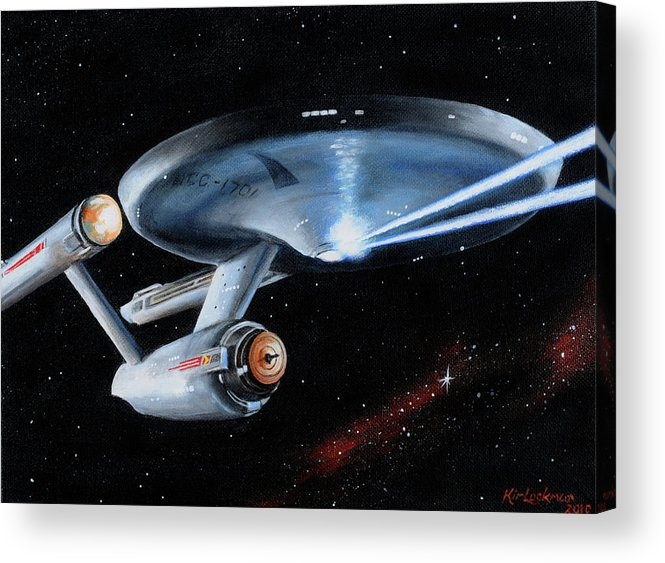 Star Trek Acrylic Print featuring the painting Fire Phasers by Kim Lockman