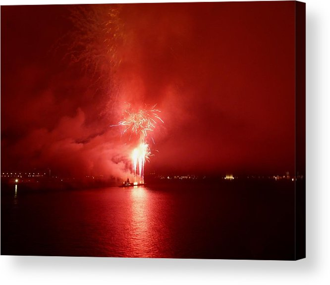 Fireworks Acrylic Print featuring the photograph Fireworks 17 by Kendall Eutemey