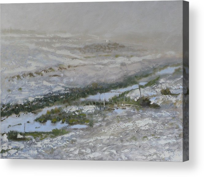 Atmospheric Ditch Fence Field Fog Gray Mist Montana Moody Nature Sbudued Snow Spindrift Storm Tonali Acrylic Print featuring the painting First Snow by Robert Bissett