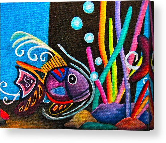 Watercolor Fish Acrylic Print featuring the painting Fish On Parade by Lori Miller