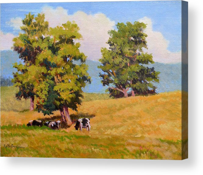 Landscape Acrylic Print featuring the painting Five Oaks by Keith Burgess
