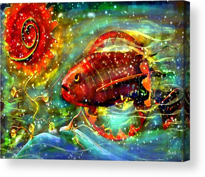 Acrylic Print featuring the painting Flaming Fish by Julie Bourbeau