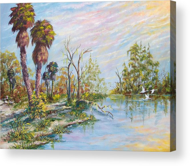 Landscape Acrylic Print featuring the painting Florida Forgotten by Dennis Vebert