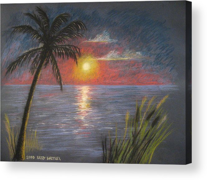 Sunset Acrylic Print featuring the pastel Florida Sunset by Larry Whitler
