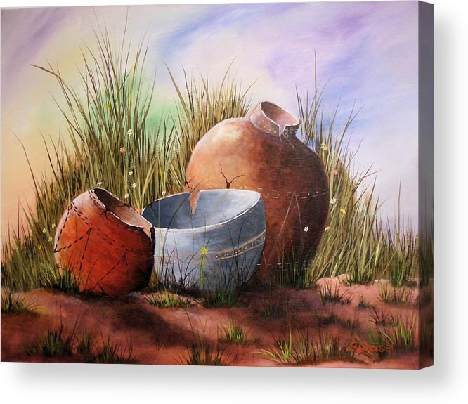 Still Life Landscape Clay Pot Broke Desert Exotic Flower Floral Sand Mexico Grass Purple Blue Green Acrylic Print featuring the painting Flower Pots by Sherry Winkler