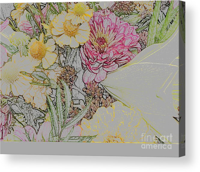 Seeing Shapes And Lines Acrylic Print featuring the digital art Flowers In A Bunch by Joan Norris