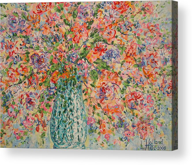 Flowers Acrylic Print featuring the painting Flowers In Crystal Vase. by Leonard Holland