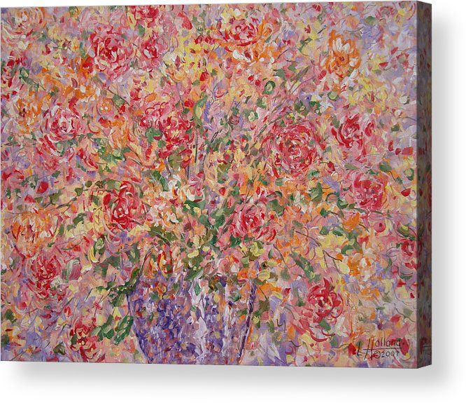 Flowers Acrylic Print featuring the painting Flowers In Purple Vase. by Leonard Holland