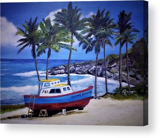 Barbados Acrylic Print featuring the painting Flying Saucer by Mark Phillips