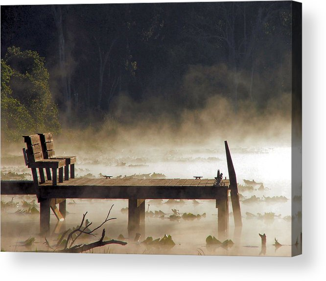 Water Acrylic Print featuring the photograph Fog On Lake Jeffords by Judy Waller
