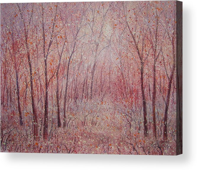 Landscape Acrylic Print featuring the painting Forest Stillness. by Leonard Holland