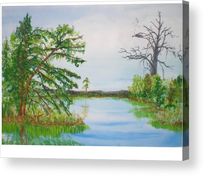 Landscape Acrylic Print featuring the painting Fort Mc Coy Lake by Hal Newhouser