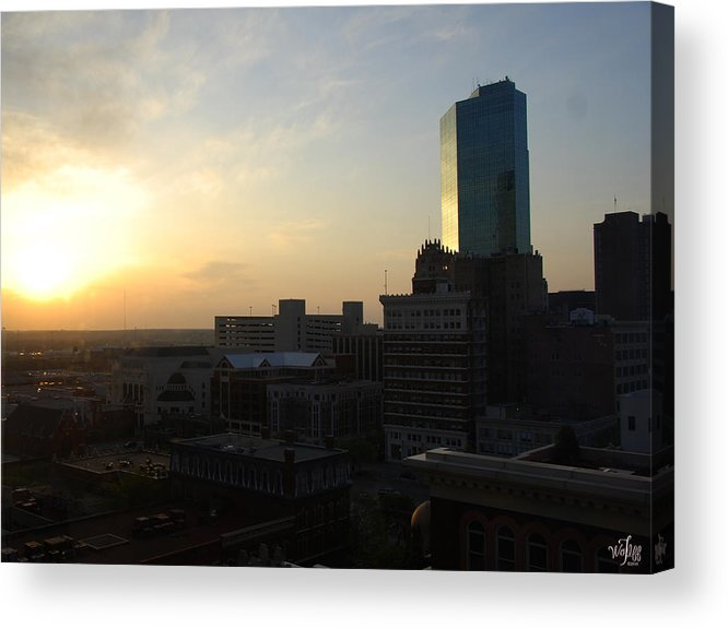 Fort Acrylic Print featuring the photograph Fort Worth Sunset by Thea Wolff