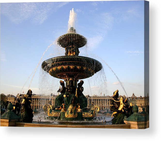 Fountain Acrylic Print featuring the photograph Fountain In Paris by Hans Jankowski