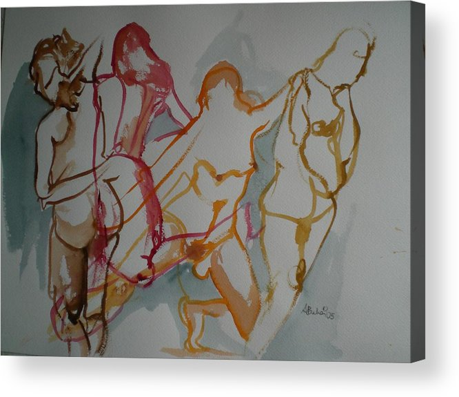Female Nudes Acrylic Print featuring the painting Four Female Figures by Aleksandra Buha