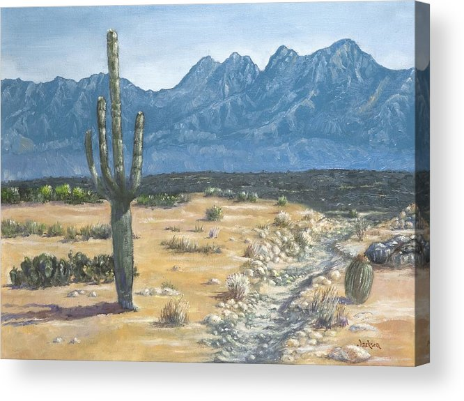 Landscape Acrylic Print featuring the painting Four Peaks by Jeff Jackson