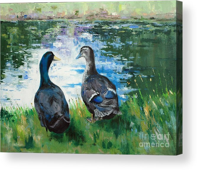 Ducks Acrylic Print featuring the painting Fred And Ethel At Scott's Pond by Glenn Secrest