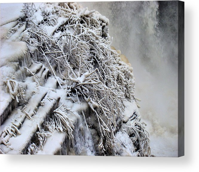 Acrylic Print featuring the photograph Freezing Falls by Tingy Wende
