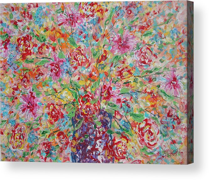 Painting Acrylic Print featuring the painting Fresh Flowers. by Leonard Holland