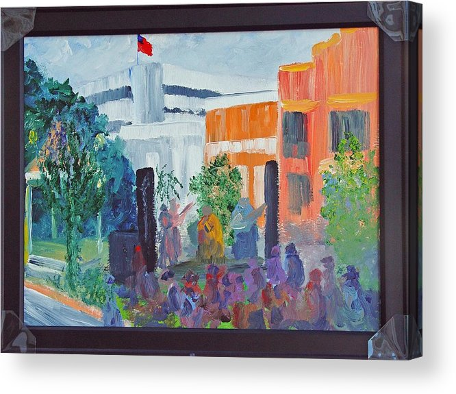 Cityscape Acrylic Print featuring the painting Friday Night With Ms Peggy Columbus Ga by James Eugene Moore