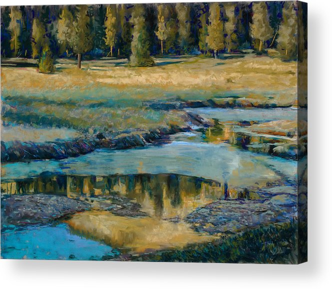 River Acrylic Print featuring the painting Frozen Reflections by Billie Colson