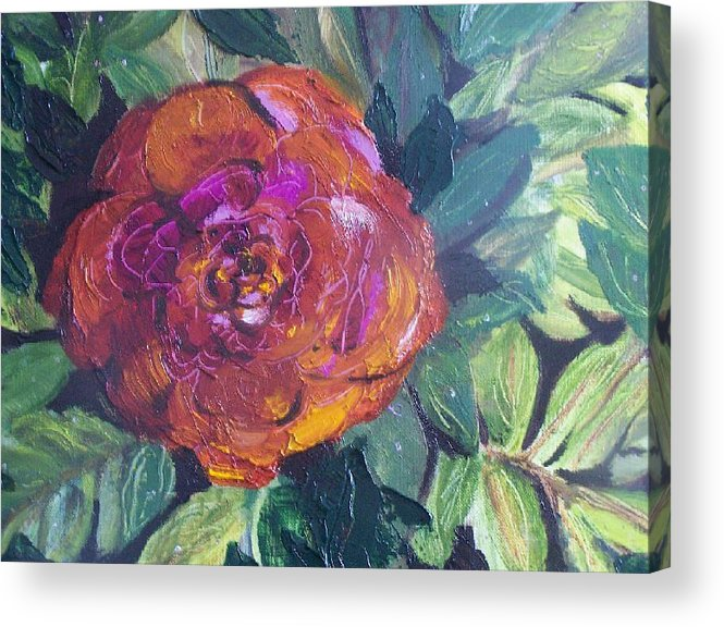 Flower Acrylic Print featuring the painting Full Bloom by Pamela Wilson
