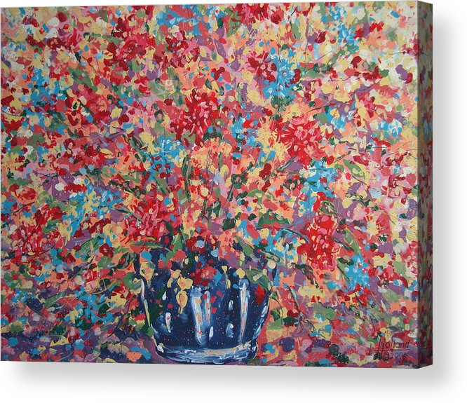 Flowers Acrylic Print featuring the painting Full Flower Bouquet. by Leonard Holland