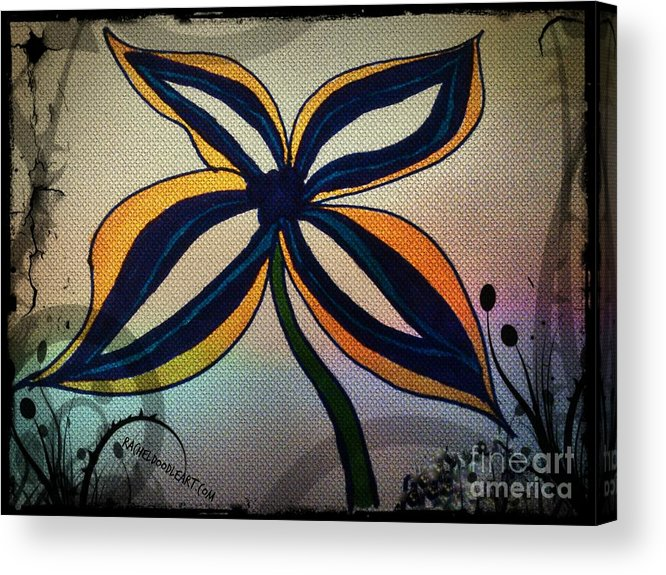 Doodle Acrylic Print featuring the drawing Funky Flower by Rachel Maynard