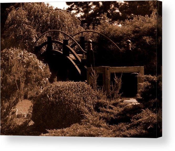 Sepia Acrylic Print featuring the photograph Garden Bridge by Audrey Venute