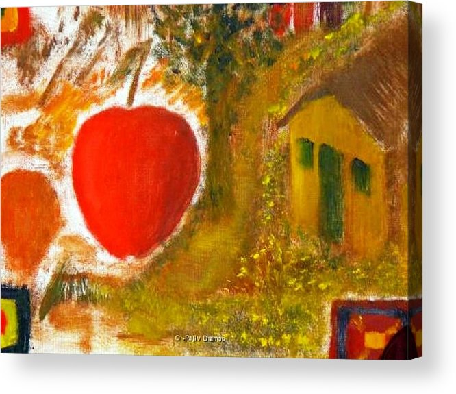Abstract Apple Adam Ave Acrylic Print featuring the painting Garden Of Eden by R B
