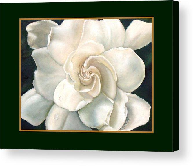 Gardeniaflower Acrylic Print featuring the painting Gardenia by Darlene Green