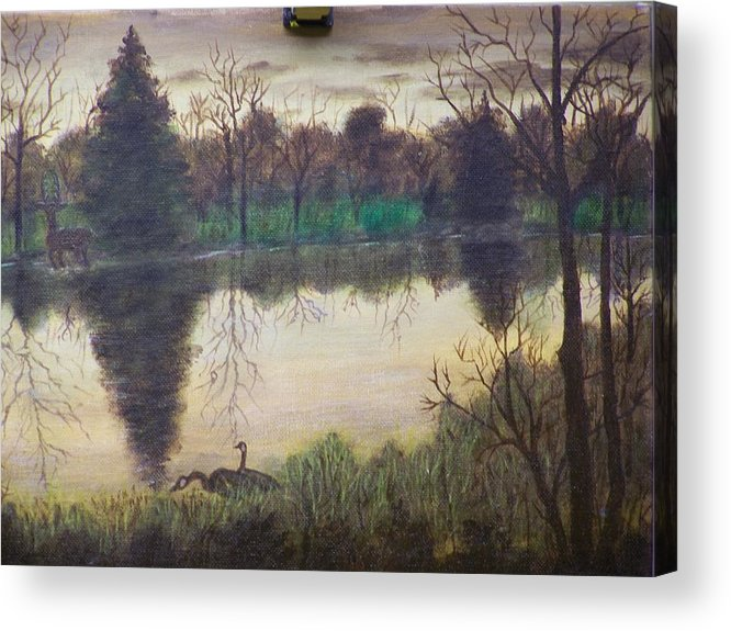 Landscape Acrylic Print featuring the painting Geese At Sunrise by Charles Vaughn