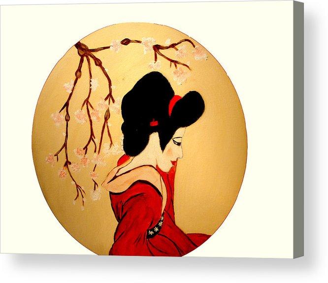 Geisha Girls Acrylic Print featuring the painting Geisha Girl by Rusty Gladdish