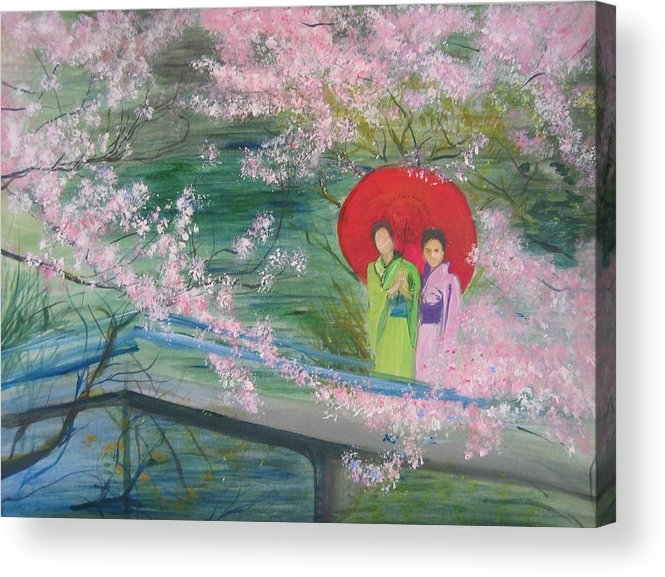 Landscape Acrylic Print featuring the painting Geishas And Cherry Blossom by Lizzy Forrester