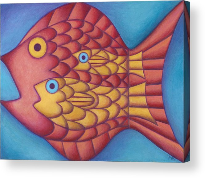 Whimsical Acrylic Print featuring the painting Generations by Mary Anne Nagy