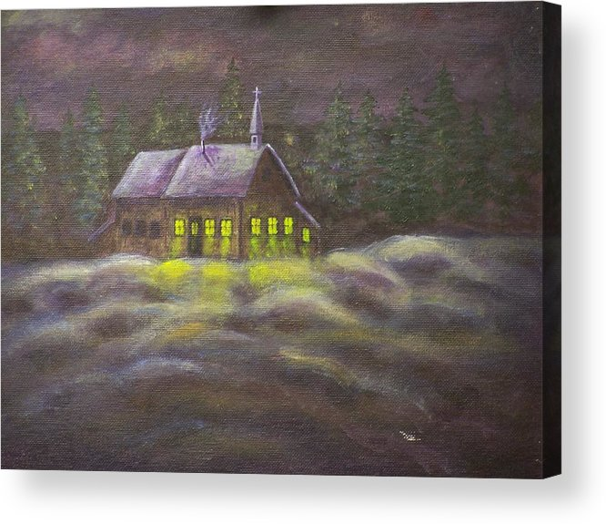 Snowscene Acrylic Print featuring the painting God Lives Here by Charles Vaughn