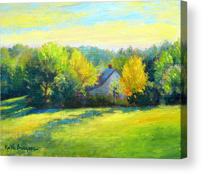 Landscape Acrylic Print featuring the painting Golden Evening by Keith Burgess