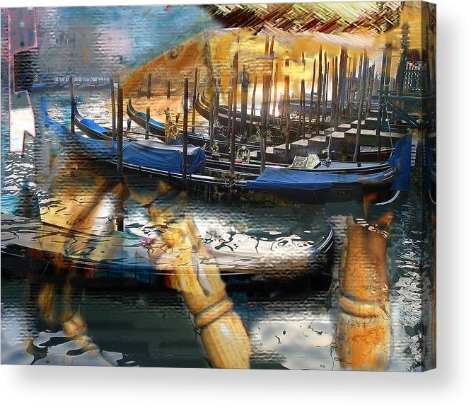 Italy Acrylic Print featuring the digital art Gondolas Gondalas And More Gondalas by Xavier Carter
