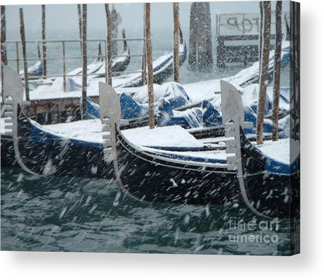 Venice Acrylic Print featuring the photograph Gondolas In Venice During Snow Storm by Michael Henderson