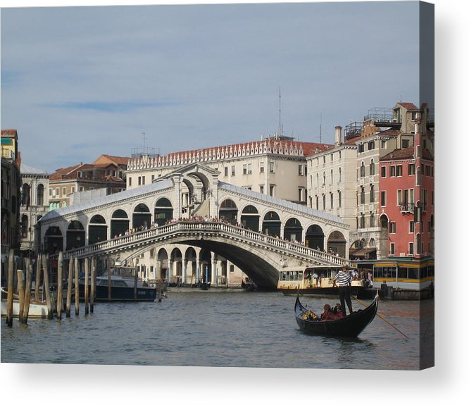 Gondolier Acrylic Print featuring the photograph Gondolier Approching The Rialto by Angela Rose