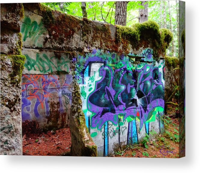 Mine Shaft Acrylic Print featuring the photograph Graffiti Illusion by Rasma Bertz
